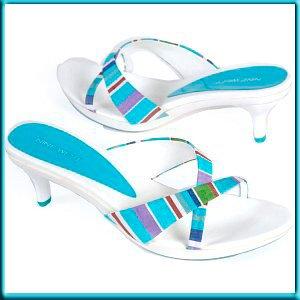 NINE WEST White Blue Slide Sandal Mules Pumps Sz 8.5