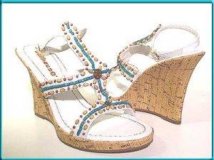 DOLLHOUSE White WEDGE Strappy Sandals Pumps Sz 8