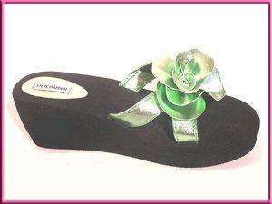 Steve Madden Slide Flip Flop Sandals Black Green Sz 8.5