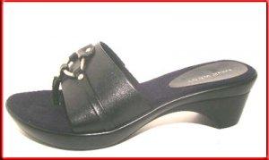 NINE WEST Black Leather Sandals Shoes Sz 7.5