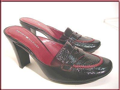 TOMMY HILFIGER  Leather Clogs Mules Black Shoes  Sz 7