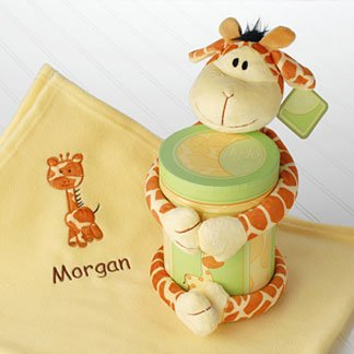 Personalized Blanket with Plush Giraffe & Keepsake Box