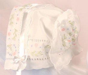 Floral Embroidered Keepsake Bonnet