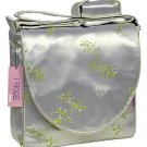 IFD25 - Silver/Green Cherry Blossom & Bamboo Leaves - I Frogee Diaper Bags