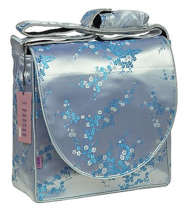 IFD28 - Silver/Skyblue Cherry Blossom - I Frogee Diaper Bags