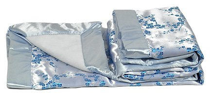 Silver/SkyBlue Cherry Blossom - I Frogee Brocade Baby Blankets