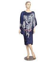 BT02 - Dark Blue Silk Big-T Gown(Dragon Caftan) For Women