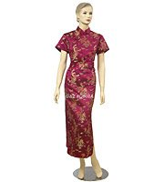 Q008 - Maroon Dragon & Phoenix Cheongsam (QiPao) Dress