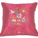 Pair of Satin Cushion Covers - Embroidered Floral Design (Dark Red)