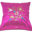 Pair of Satin Cushion Covers - Embroidered Floral Design (Hot Pink)