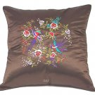 Pair of Satin Cushion Covers - Embroidered Floral Design (Brown)