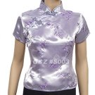 S003 - Silver/Light Purple Blossom & Bamboo Leaves - Lady's Blouse