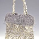 FHB - Silver Satin Handbag w/Fur (Fortune Flower Brocade)