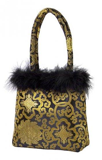 FHB2 - Black/Gold Satin Handbag w/Feather (Fortune Flower Brocade)