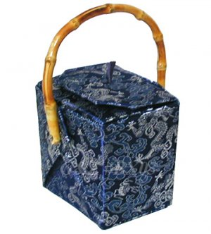 BX03 - Dark Blue Chinese 'Take-Out-Box' Shape Handbags(Dragon Brocade)