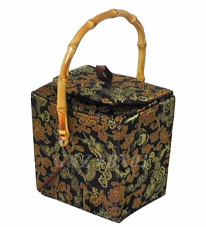 BX03 - Chocolate Chinese 'Take-Out-Box' Shape Handbags(Dragon Brocade)