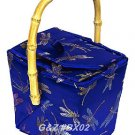 BX02 - Diamond Blue Chinese 'Take-Out-Box' Shape Handbags(Dragonfly Brocade)