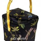 BX02 - Black Chinese 'Take-Out-Box' Shape Handbags(Dragonfly Brocade)