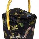 BX02 - Black Chinese 'Take-Out-Box' Shape Handbags(Dragonfly Brocade)