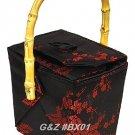 BX01 Black/Red Take-Out-Box Handbags(Cherry Blossom Brocade)