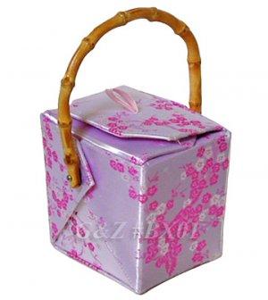 BX01 Silver/Light Pink Take-Out-Box Handbags(Cherry Blossom Brocade)