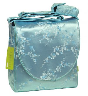 IFD45 - Sky Blue/Silver Cherry Blossom - 'I Frogee' Boxy Diaper Bags