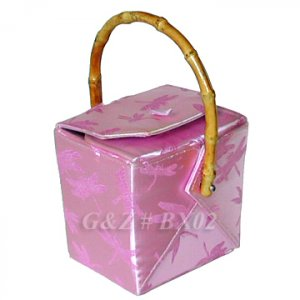BX02 - Light Pink Chinese 'Take-Out-Box' Shape Handbags(Dragonfly Brocade)