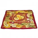 DFJ005 Large Square Chinese Silk Scarf - Dark Red Fans