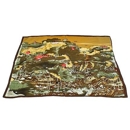 DFJ006 Large Square Chinese Silk Scarf - Lotus & Butterflies