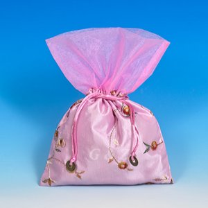 Light Pink Mini Pull-Close Pouch(Floral Embroidery Fabric)