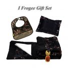 Black w/Red & Silver Cherry Blossom Brocade - I Frogee Gift Set
