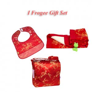 Red-Gold Cherry Blossom Brocade - I Frogee Baby Gift Set