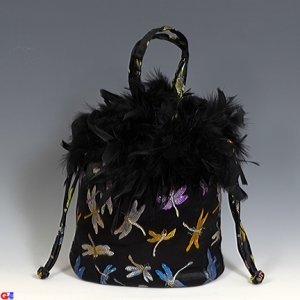 Feathered Draw-String Handbags(Black Dragonfly Brocade)