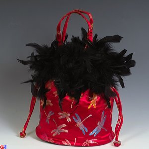 Feathered Draw-String Handbags(Red Dragonfly Brocade)