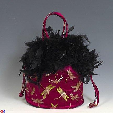 Feathered Draw-String Handbags(Maroon Dragonfly Brocade)