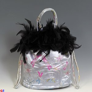 Feathered Draw-String Handbags(Silver Dragonfly Brocade)