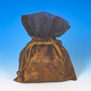 Dark Brown Mini Pull-Close Pouch(Glittering Embroidery)