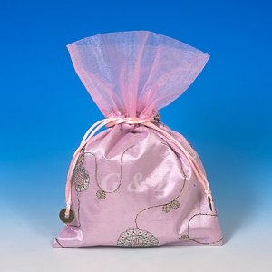 Light Pink Mini Pull-Close Pouch(Glittering Embroidery)