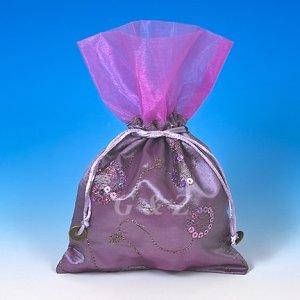 Light Purple Mini Pull-Close Pouch(Glittering Embroidery)