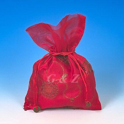 Red Mini Pull-Close Pouch(Glittering Embroidery)