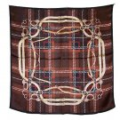DFJ012 Large Square Chinese Silk Scarf - Brown Leather Accessories