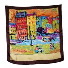 DFJ014 Large Square Silk Scarf - Oil Painting (Brown Border)