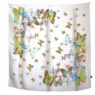DFJ004 Large Square Chinese Silk Scarf - White Butterflies