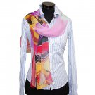 CSJ010 Chiffon Georgette Long Scarf Shawl - Red/Pink/Yellow