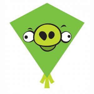 Green Pig Angry Birds Nylon Diamond Kites (81343)
