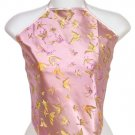 Chinese Butterfly Brocade Halter Tops - Light Pink - 1 Size Fits Most (DU DOU)