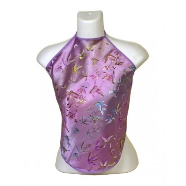 Chinese Butterfly Brocade Halter Tops - Light Purple - 1 Size Fits Most (DU DOU)