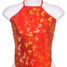 Chinese Butterfly Brocade Halter Tops - Red - 1 Size Fits Most (DU DOU)