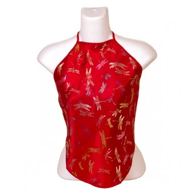 Chinese Dragonfly Brocade Halter Tops - Red - 1 Size Fits Most (DU DOU)