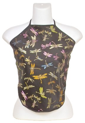 Chinese Dragonfly Brocade Halter Tops - Black - 1 Size Fits Most (DU DOU)